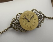 Steampunk Clock Watch Face Bracelet, Gold with Victorian Style Antiqued Brass