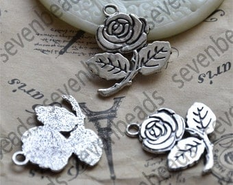 10 pcs rose Flower Charms Antique Silver Tone,Flower metal finding,Dangle Connector,Charms findings beads,charm silver Metal pendant