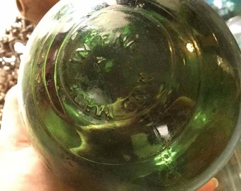 """Glass Fishing Float ~ 5"""" Diameter, Made in England, Green"""