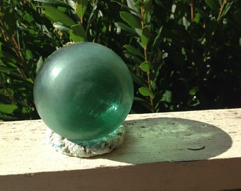 Japanese Tri-Mold Glass Fishing Float - Baseball Size, Alaska Beachcombed, Shade of Green, Frosted