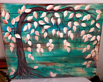 Wedding guestbook tree....Wooden guest book signature tree...100 GUESTS