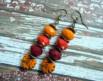 Tangerine, Cherry Red and Apple Red Leaf Earrings (2929)