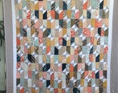 Large Modern Lap Quilt, Stained Glass Modern Lap Quilt by Dreamy Vintage Sheets