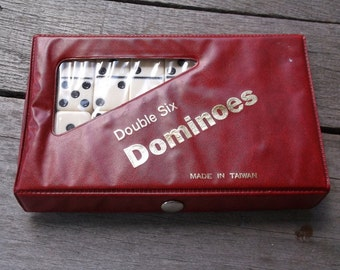 Dominoes Vintage Double Six Dominoes Made in Taiwan in Red Vinyl Case complete and nice condition
