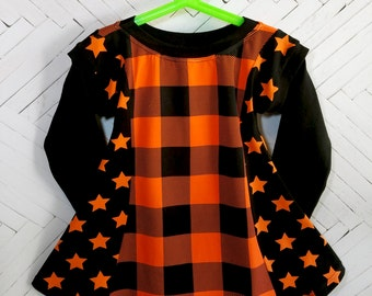 Halloween girls dress size 4 4T black orange toddler girls dress plaid stars fall dress holiday dress long sleeve tunic dress