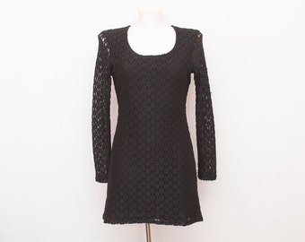 90s NOS vintage black dress lace mesh