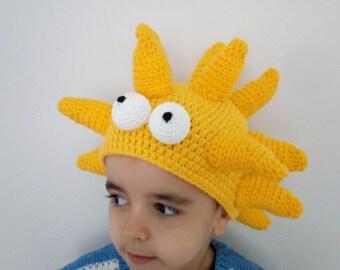 Crochet  Lisa Simpson costume with big eyes-crochet Lisa simpson wig-Halloween Costume Ideas-night costumes