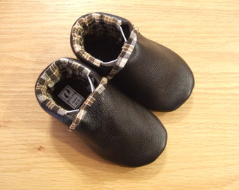 Plaid lined basic dark brown leather baby boys shoes 6-12 months mud turtles and more