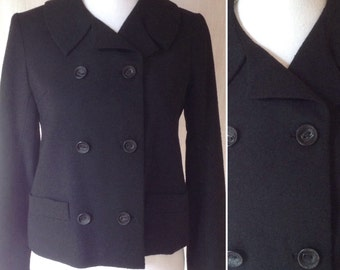 1960s French Little black MOD jacket double breasted tailored box shape