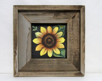 Single Yellow Sunflower with Green Leaves, Hand or Tole Painted, Framed in Reclaimed Primitive and Rustic Barn Wood Frame, Acrylic Paints