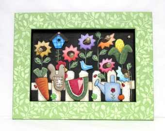 White Picket Fence, Blue Bird, Colorful Folk Art Flowers, Garden Fence, Hand or Tole Painted on to Fiberglass Screen, Reclaimed Wood Frame