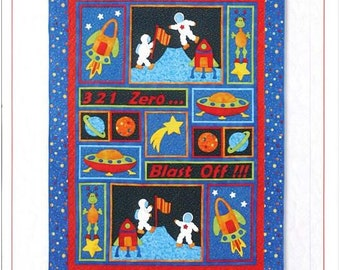 Kid's Quilts Kids Quilts Blast Off Rockets Planets Stars Aliens Astronauts Space Travel Boys Quilt