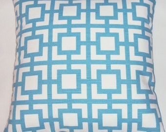 Modern Geometric Coastal Blue Decorative Pillow Cover