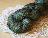 Fingering Weight Yarn / Celtic Green Iridescent Forest Green Plum Tonal Boudicca / Superwash BFL wool bamboo sock yarn / NEW