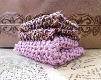 Cotton Knit Dishcloths   Set of Two, Brown and Lavender Multi   Dishcloths   Vegan    Washcloths   Ecofriendly   Reusable   Natural