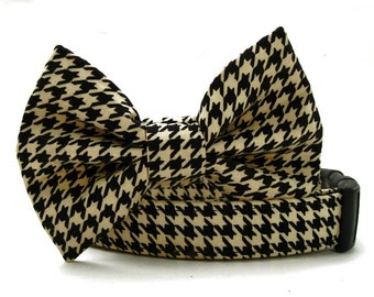 Black and Tan Houndstooth Bow Tie Dog Collar