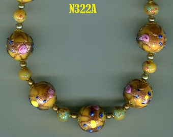 Venetian Murano Fiorato Wedding Cake Bead Necklace, Amber N322A