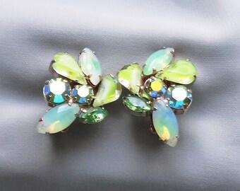 Vintage JULIANA Givre Green Rhinestone & AB Green Rhinestone Gold Plated Clip On Earrings