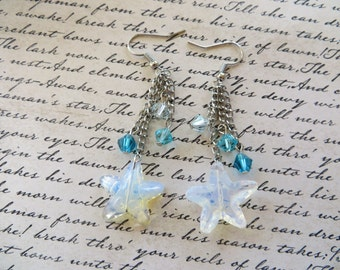 Moonstone Starfish And Shades Of Blue Crystal Dangling Chain Earrings