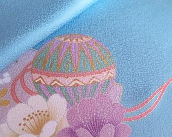Japanese pure silk Blue Cherry brossom pattern 19-7