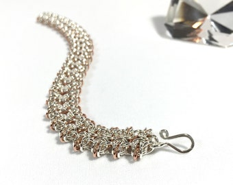 Chain Maille Byzantine To Butterflies Bracelet in Sterling SIlver with Copper Accents
