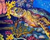 Sea Turtle watercolour painting - Sea Turtle in the Reef