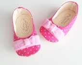 Baby Girl Shoes, Toddler Shoes, Soft Sole Shoes, Infant Shoes, Polka Dot Shoes, Hot Pink Shoes, Valentine's Day Shoes-Mea