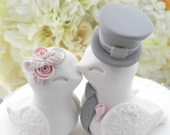 Love Birds Wedding Cake Topper, White, Dusty Pink and Grey, Bride and Groom Keepsake, Fully Customizable