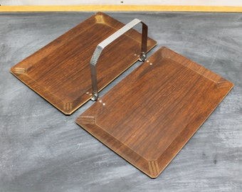 Mid Century Modern Haskelite Coronet Folding Serving Tray, Bureau Tray, Platter