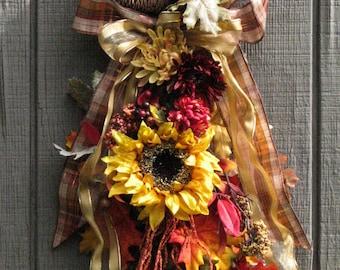 Fall Swag, Fall Sunflower Swag, Fall Wall Decor, Fall Wall Hanging, Front Door Wreath, Outdoor Door Wreath Fall, Fall Door Wreath