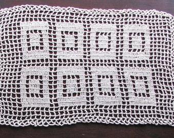 Vintage Crocheted Doily, Crocheted Doily, Vintage Doily, Beige Doily, Rectangular Doily