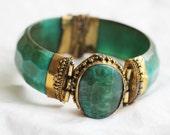 Boho Queen, Emerald Green Moroccan Bracelet, Bangle, 1970s
