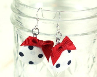White with black polka dot fabric covered button charm earrings red ribbon bows