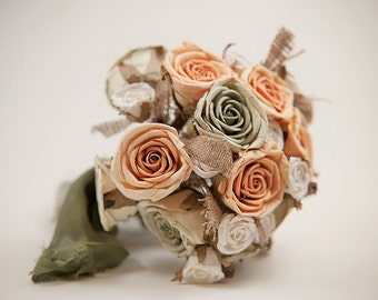 Only One! Bridal Bouquet-Rustic Bouquet, Green-Salmon Bouquet, Rustic weddings, Romantic Weddings