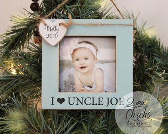 Uncle Personalized Christmas Ornament, Picture Frame Ornament, Baby's First Christmas Ornament, I Love My Uncle Personalized Ornament