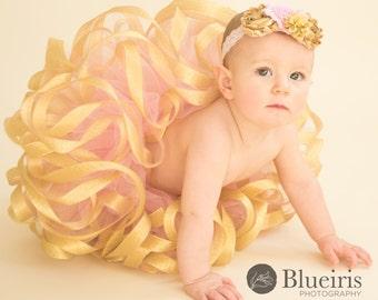 Exclusive Pink and Gold One Year Old Baby Tutu Set, Pink & Gold Tutu Skirt, Baby Girls Tutu, Girls Tutu, Toddler Tutu, Sewn Tutu, Photo Prop