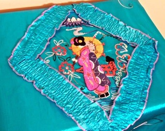 vintage embroidered bedspread - 1960s aqua/multicolored geisha embroidered silky coverlet