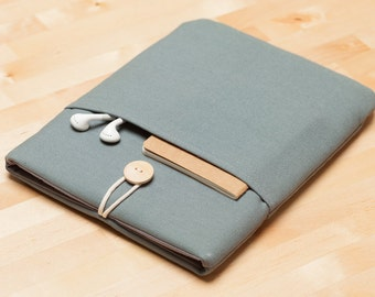 Macbook air 13 case / Laptop sleeve / Macbook pro 13 sleeve /  computer case/ padded with pockets  - Plain grey