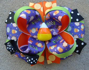 Candy corn Hair Bow Halloween Hair Bow Halloween boutique hairbow large hair bow Stacked Boutique Hair Orange hair bow holiday hair bow
