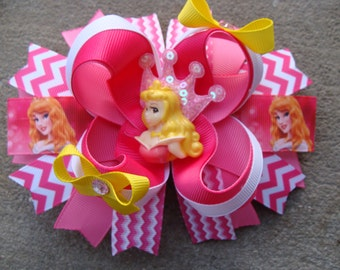 Aurora hair bow Princess Aurora hair bow Princess Hair Bow Large chewron Hair bow Boutique hair bow disney hair bow purple and red hair bow