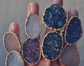 VALENTINES SALE GALAXY Druzy /// Double Banded Agate and Quartz Druzy Ring /// Electroformed