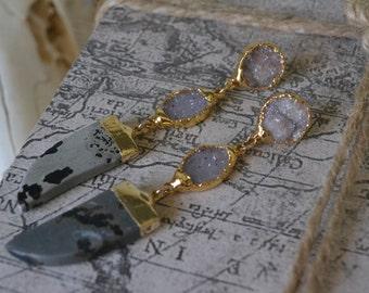 HORN EARRINGS/// Gemstone Gold Dipped Earrings
