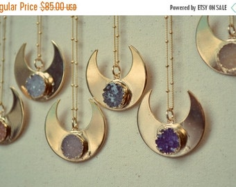 VALENTINES SALE MOONBEAM Warrior /// Handcrafted Druzy Necklace /// 24kt Gold Plate /// Moon Necklace