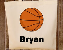 Basketball Tote Bag  -- Boys Tote Bag -- Kids Tote Bag  -- Basketball bag