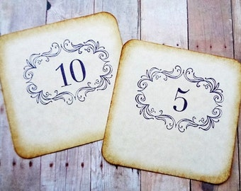Wedding Table Numbers Rustic Vintage Style Scroll Frame