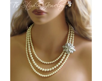 Long 3-Strand Pearl Bridal Necklace with Rhinestone Brooch - CAROLYN
