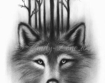 Forest Wolf Moon Spirits Midnight Art Print Emo Fantasy Tree Zindy Nielsen