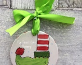 Personalized Ceramic ELF FOOT Christmas ornament