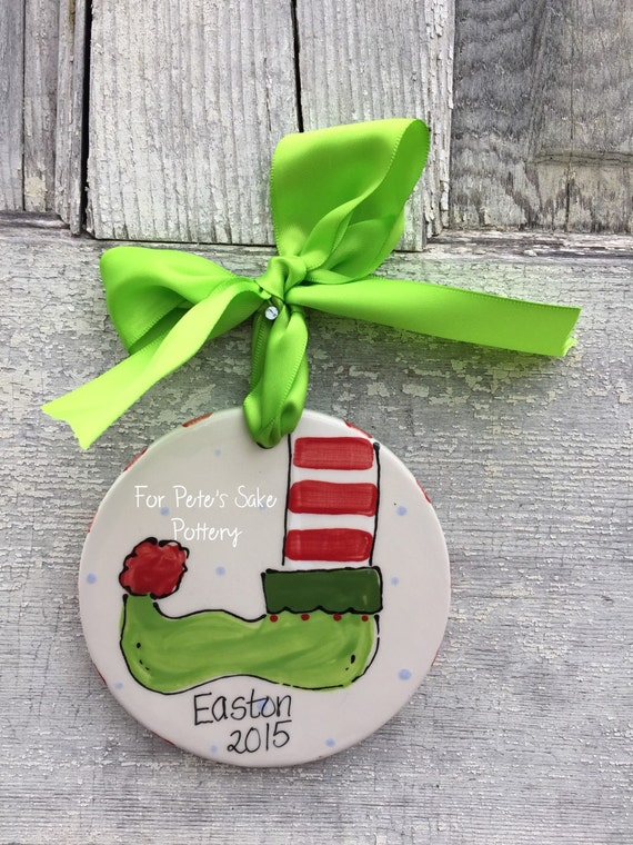 Personalized, Ceramic. ELF FOOT, Christmas ornament, personalized ornament, child's ornament, holiday ornament
