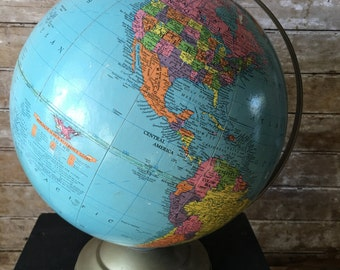 "Vintage World Globe Replogle 12"" Reference 70's"